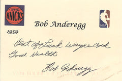 1959 NY Knicks Bob Anderegg Autographed Hand-Signed Postcard - TnTCollectibles - 1