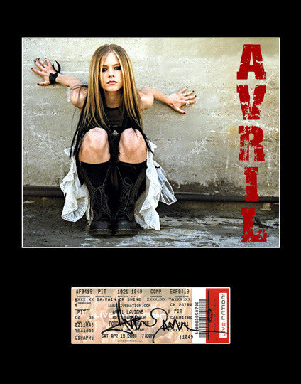 Rare Framed Pop Star Avril Lavigne Autograph Hand Signed Ticket and Photo - TnTCollectibles