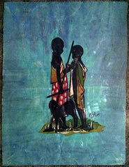 Famous Artist Martin Owino Signed African Batik Pres. Obama's Cousin - TnTCollectibles - 1