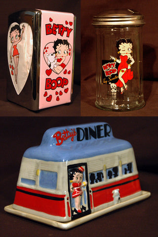 Betty Boop Diner Set - Napkin Holder Sugar Dispenser Ceramic Butter Cheese Dish - TnTCollectibles - 1