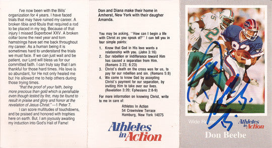 Rare Super Bowl Champion Don Beebe Autographed Christian Tr-Fold Brochure - TnTCollectibles - 2
