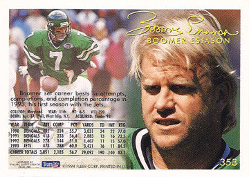 Football Legend Boomer Esiason Autograph Hand Signed New York Jets Card 353 - TnTCollectibles - 2