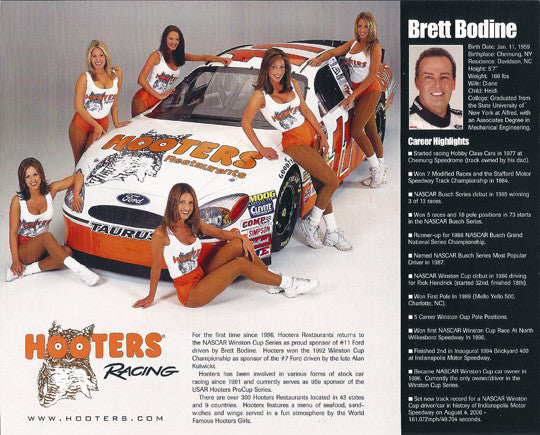 NASCAR Driver Brett Bodine Autographed Hand Signed Photo w/ Bio & Hooters Girls - TnTCollectibles - 2