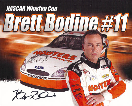 NASCAR Driver Brett Bodine Autographed Hand Signed Photo w/ Bio & Hooters Girls - TnTCollectibles - 1
