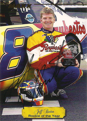 Autographed Hand Signed Jeff Burton Rookie of the Year NASCAR Card - TnTCollectibles