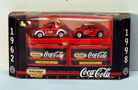 Rare Vintage 1998 Coca Cola Matchbox Collectibles 1962 and 1998 Coke VW Beetles - TnTCollectibles - 1