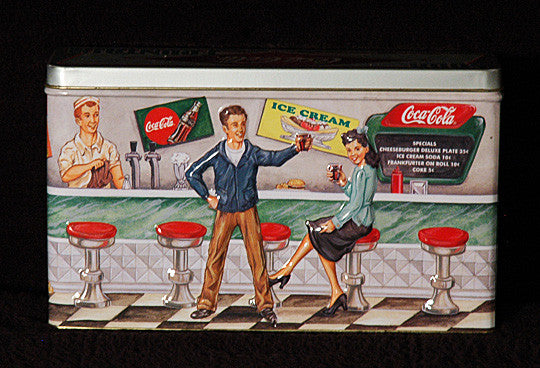 Rare Vintage Collectible Coke Embossed Coca Cola 50's Soda Fountain Display Tin - TnTCollectibles - 1
