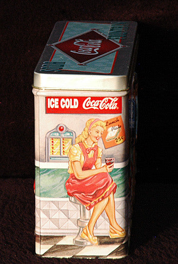 Rare Vintage Collectible Coke Embossed Coca Cola 50's Soda Fountain Display Tin - TnTCollectibles - 2