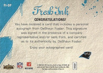 2006 Deshaun Foster Autograph 2006 Fleer Flair Showcase Fresh Ink Panthers Card - TnTCollectibles - 2
