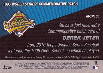 2010 Derek Jeter New York Yankees Topps 2006 Commemorative World Series Patch - TnTCollectibles - 2