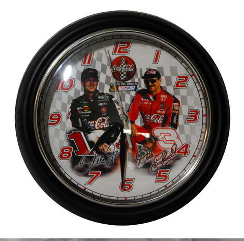 NASCAR Collectible Dale Earnhardt Sr and Dale Earnhardt Jr Coca Cola Wall Clock - TnTCollectibles