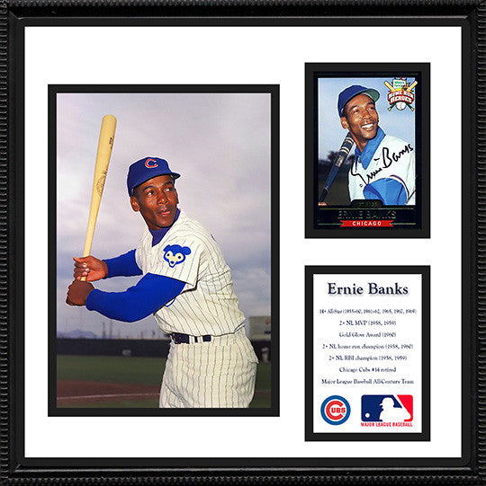 Baseball Legend Ernie Banks Autographed Hand-Signed 1999 Framed Card with COA - TnTCollectibles