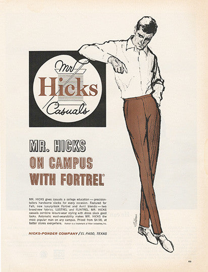 Large Antique 1963 Mr Hicks Clothing Apparel Magazine Print Ad - Approx 11 x 14 - TnTCollectibles