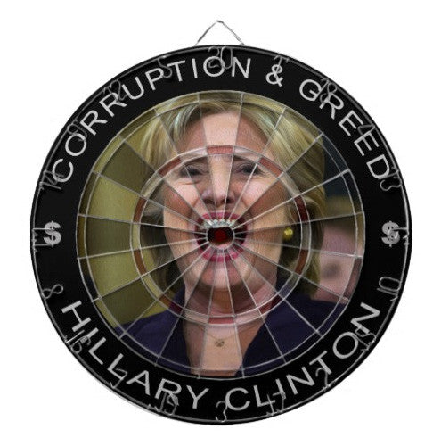 EXCLUSIVE Anti Hillary Clinton Dartboard with 2 Sets of Darts - Regulation Dart Board - TnTCollectibles