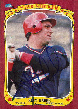 2 Time World Series Champion Kent Hrbek Autograph Minn Twins Signed Sticker Card - TnTCollectibles - 1
