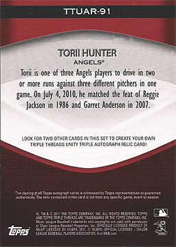 Rare Torii Hunter Autographed Signed 2011 Topps Triple Threads Jersey Card 18/99 - TnTCollectibles - 2