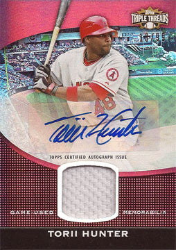 Rare Torii Hunter Autographed Signed 2011 Topps Triple Threads Jersey Card 18/99 - TnTCollectibles - 1