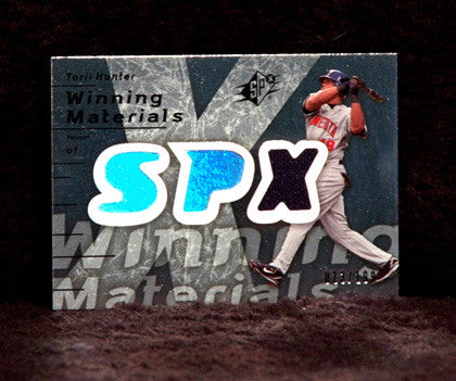 MLB Baseball Star Torii Hunter Game Used Jersey SPX Holo Foil Card LOW SN 013/199 - TnTCollectibles