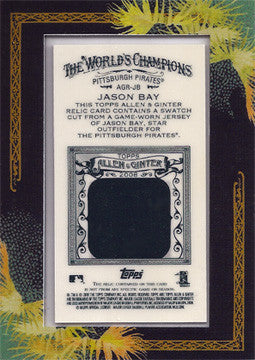 2008 Topps Allen and Ginter Relics JB Jason Bay Authentic Game Used Jersey Card - TnTCollectibles - 2