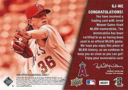 Collectible Jered Weaver Game Used Angels Jersey 2009 Upper Deck Card GJ-WE - TnTCollectibles - 2