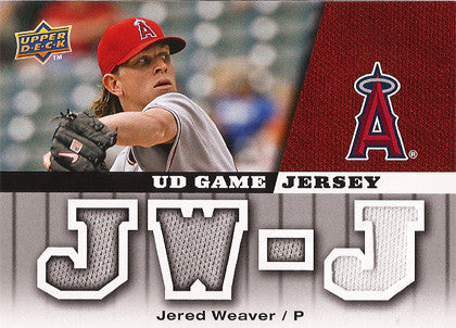 Collectible Jered Weaver Game Used Angels Jersey 2009 Upper Deck Card GJ-WE - TnTCollectibles - 1