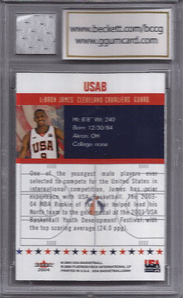 2006 Lebron James Beckett Graded Mint 10 Game Used Olympic USA Jersey and Card - TnTCollectibles - 2