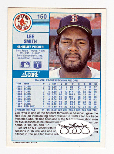 RARE Lee Smith Original Autographed Hand-Signed Red Sox Card - TnTCollectibles - 2