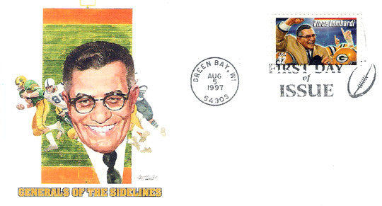 First Day Issue NFL Coach Legend Vince Lombardi Green Bay, WI Postmark 1997 FDC - TnTCollectibles