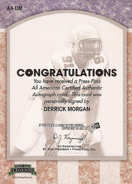 Titans Derrick Morgan 2010 All American Autograph Signed Rookie Card SN 62/100 - TnTCollectibles - 2