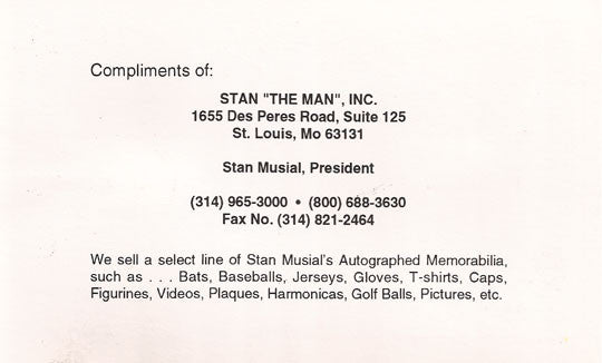 Authentic Baseball Legend Stan The Man Stan Musial Autograph Signed Promo Card - TnTCollectibles - 2