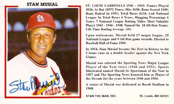 Authentic Baseball Legend Stan The Man Stan Musial Autograph Signed Promo Card - TnTCollectibles - 1