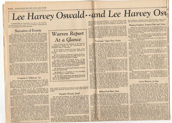 Lee Harvey Oswald Alone Murdered Kennedy Warren Report Newspaper Article Sep 28 1964 JFK - TnTCollectibles - 1