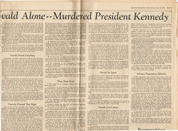 Lee Harvey Oswald Alone Murdered Kennedy Warren Report Newspaper Article Sep 28 1964 JFK - TnTCollectibles - 2