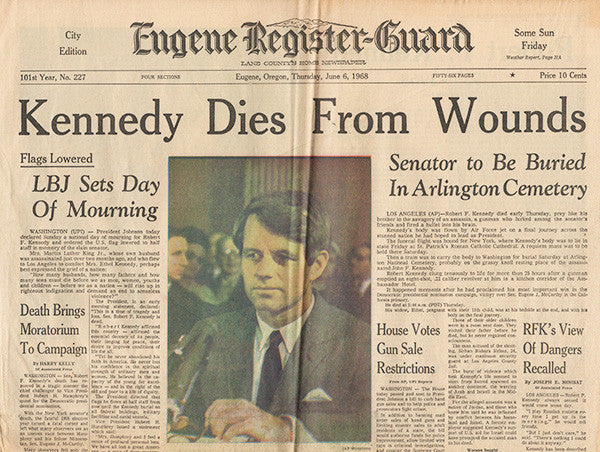 Front Page June 6 1968 - RFK Senator Robert F Kennedy Dies From Wounds - TnTCollectibles