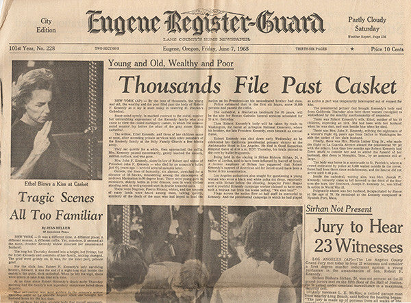 RFK Robert F Kennedy Final Hours Newspaper Collection - June 1, June 4 to June 7 1963 - TnTCollectibles - 2