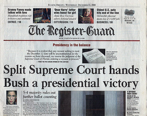 Dec 13 2000 Supreme Court Hands Bush Presidential Victory Election Newspaper - TnTCollectibles - 1