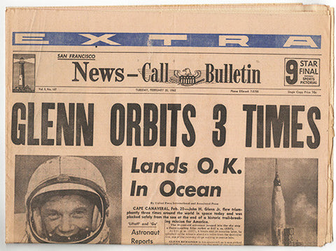 NASA Astronaut John Glenn First American To Orbit Earth Entire S.F. Newspaper - TnTCollectibles - 1