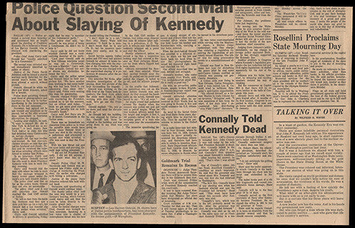 President John F Kennedy JFK Assassination Sunday Newspaper Nov. 24, 1963 - 1 - TnTCollectibles - 1