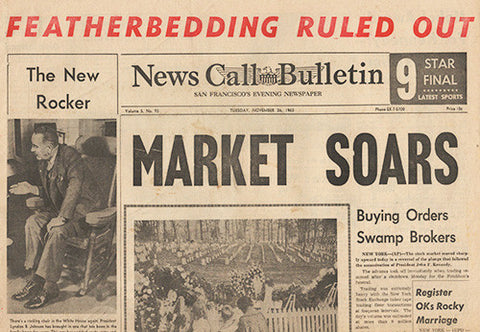 4 Days After President John F Kennedy JFK Assassination Newspaper Nov. 26, 1963 - 1 - TnTCollectibles