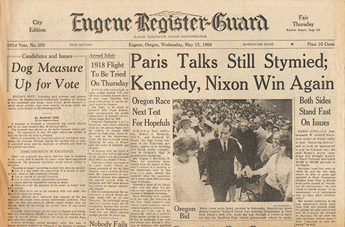 May 15 1968 Newspaper - RFK Senator Robert F Kennedy Nixon Presidential Campaign - TnTCollectibles