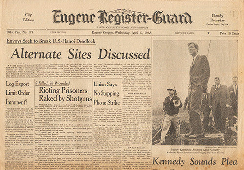 April 17 1968 Newspaper - RFK Senator Robert F Kennedy Presidential Campaign - TnTCollectibles