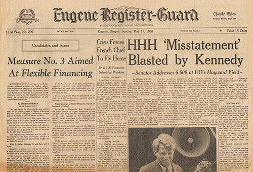 May 19 1968 Newspaper - RFK Robert F Kennedy Speaks in Eugene Oregon - TnTCollectibles