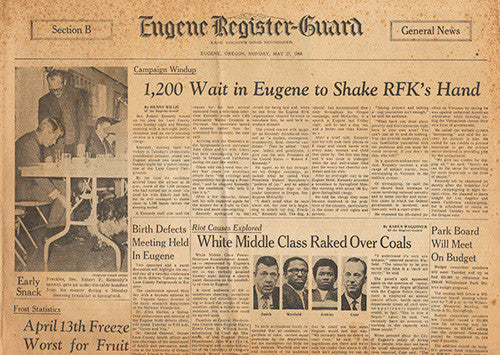 May 27 1968 Newspaper - RFK Robert F Kennedy Eugene McCarthy - 1 Day Before Primary Election - TnTCollectibles