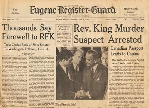 Front Page June 8 1968 - RFK Kennedy Funeral Train - MLK Martin Luther King Jr Murder - TnTCollectibles