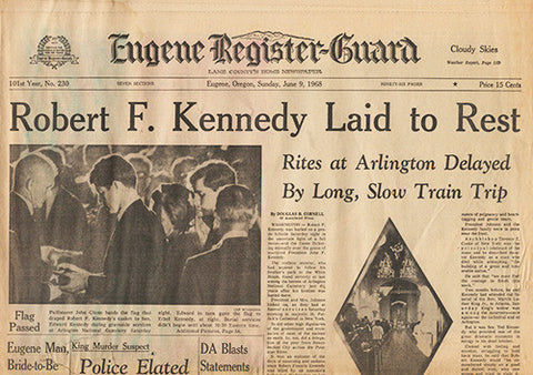 Front Page June 9 1968 - RFK Funeral - Senator Robert F Kennedy Laid To Rest - TnTCollectibles