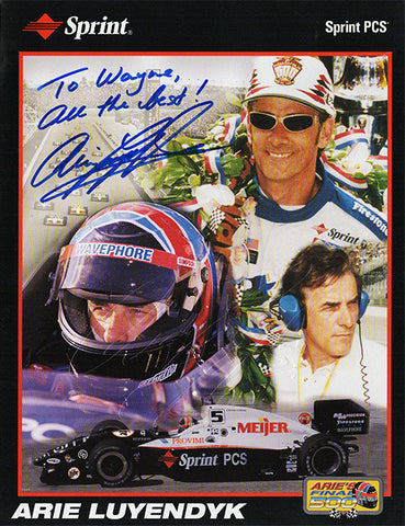 Arie Luyendyk Autograph 2x Indianapolis 500 Winner Hand Signed Embossed Promo Photo - TnTCollectibles