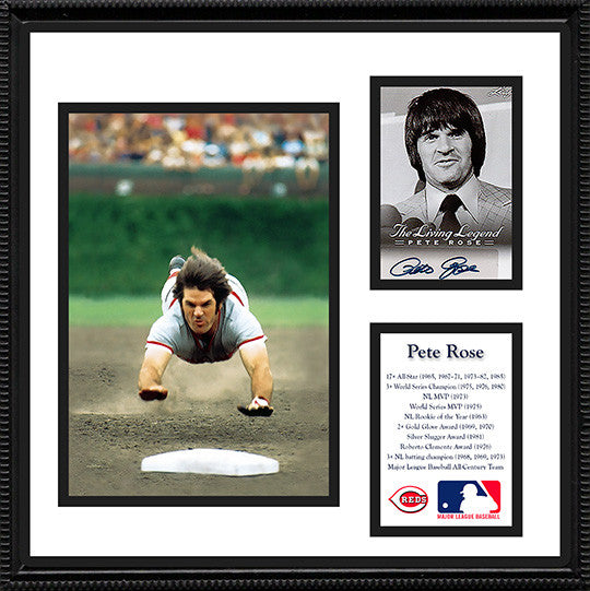 Framed Baseball Legend Pete Rose Autograph Hand Signed Living Legend Card - TnTCollectibles