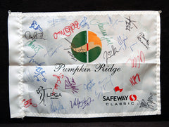 28 LPGA Autographs Hand Signed 2012 Pumpkin Ridge Pin Flag - Winner Mika Miyazato Wie Kerr Tseng Choi Petersen Mozo Recari and More - TnTCollectibles - 1