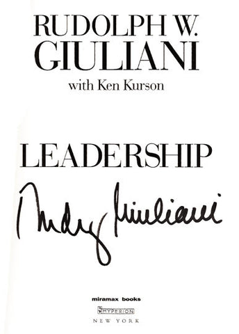 Rare Collectible Rudolph Giuliani Autographed Signed Leadership Book with Ribbon - TnTCollectibles - 1