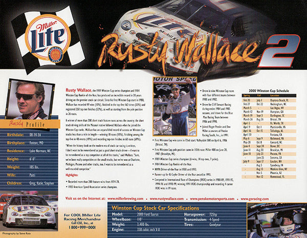 NASCAR Star Rusty Wallace Autographed Hand Signed Miller Lite Photo with Bio - TnTCollectibles - 2
